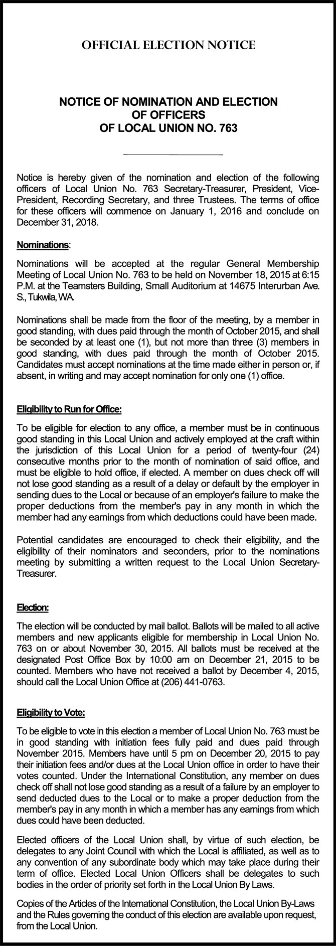 Download the Local Union Nomination and Election Notices from Joint Council No. 28