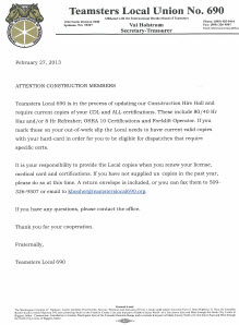 Construction Members Notice