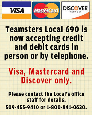 Local 690 is now accepting VISA, Mastercard & Discover cards!