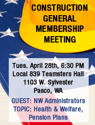 Construction meeting April 28th in Pasco