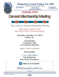 October General Membership Meeting @ Teamsters Meeting Hall