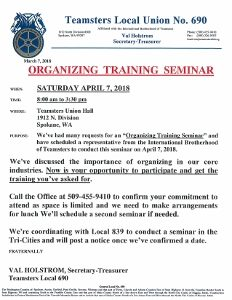 Organizing Seminar @ Teamsters Local 690