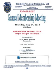 General Membership Appreciation Meeting @ Teamsters Downstaris Meeting Hall